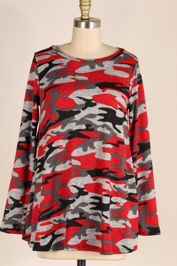 PLUS SIZE CAMOUFLAGE PRINT BRUSHED LONG SLEEVE TOP