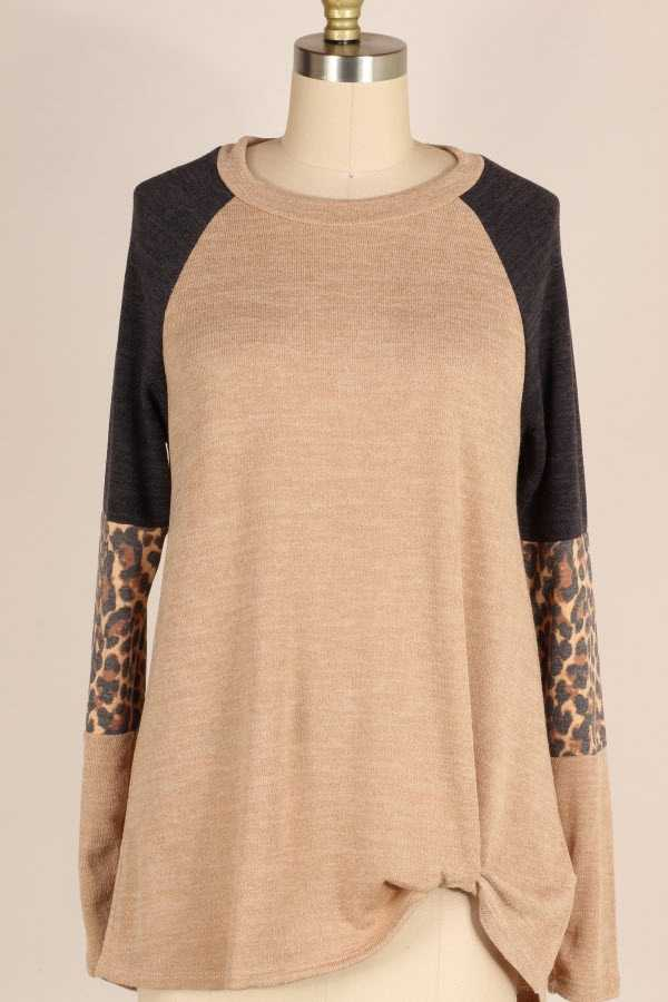 KNOTTED HEM LEOPARD PRINT COLOR BLOCK KNIT TOP