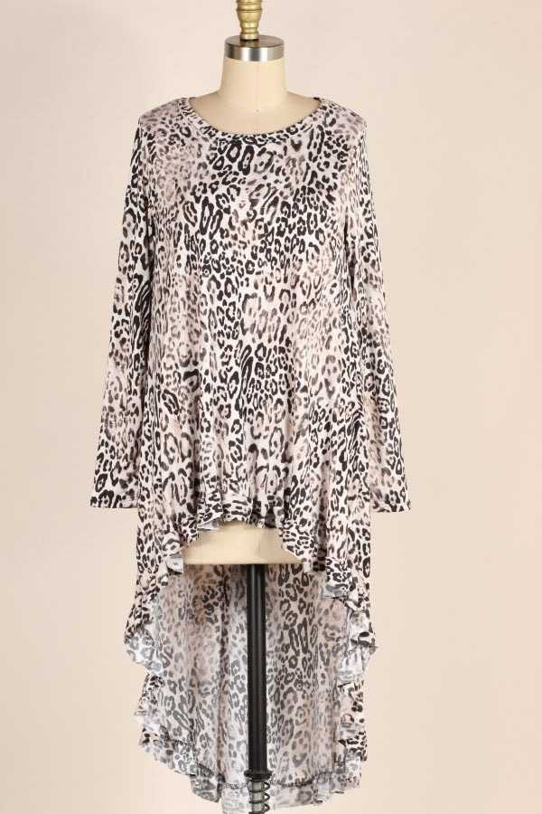 PLUS SIZE RUFFLE HEM ANIMAL PRINT HIGH LOW TUNIC TOP