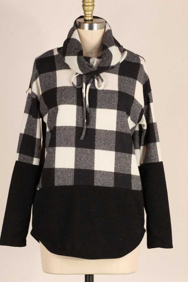COWL NECK CHECKER PRINT CONTRAST KNIT TOP