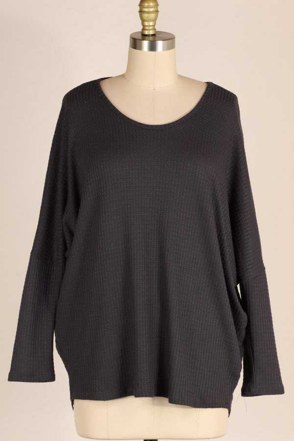 PLUS SIZE SOLID LOOSE FIT WAFFLE KNIT TOP