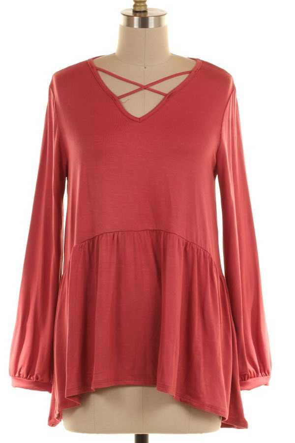 CRISS CROSS DETAIL SOLID RUFFLED TUNIC TOP