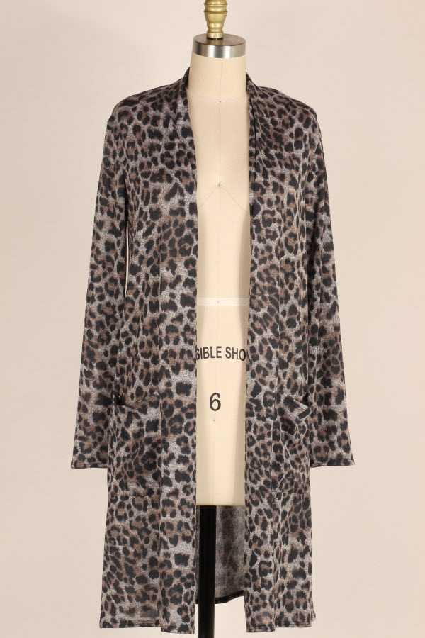 PLUS SIZE LEOPARD PRINT OPEN KNIT CARDIGAN WITH POCKETS
