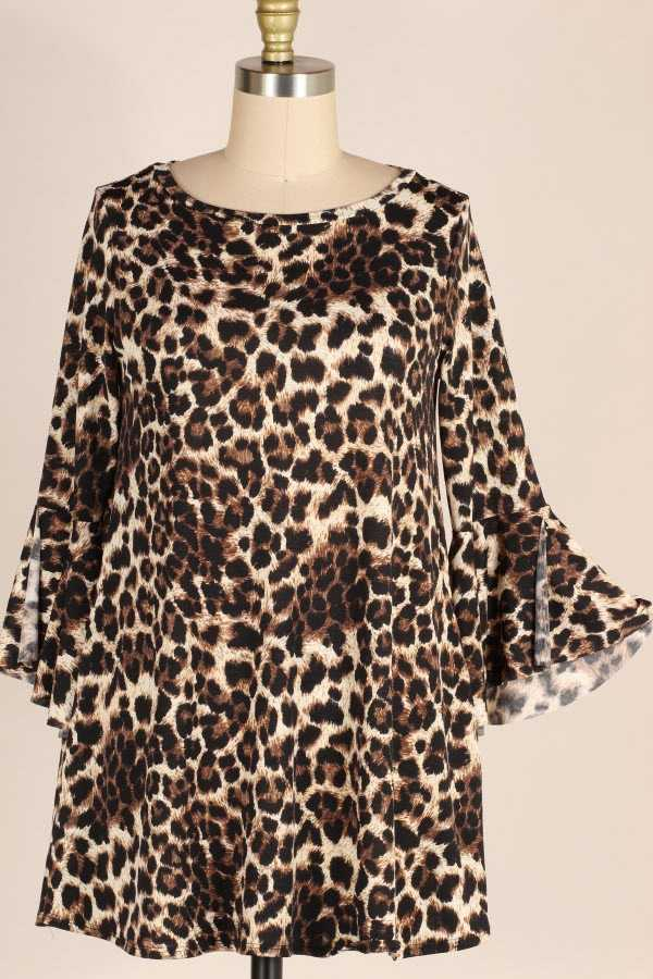 SLIT RUFFLE SLEEVE LEOPARD PRINT TUNIC TOP WITH POCKETS