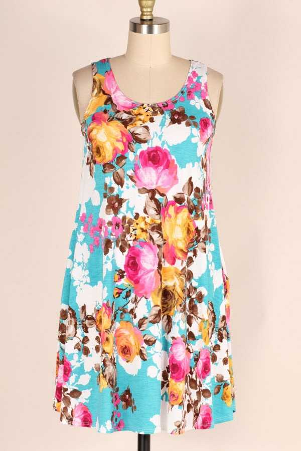 PLUS SIZE SLEEVELESS FLORAL PRINT DRESS WITH POCKETS