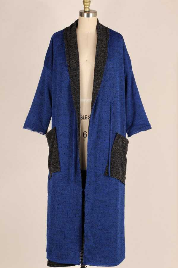 PLUS SIZE REVERSIBLE KNIT MAXI CARDIGAN