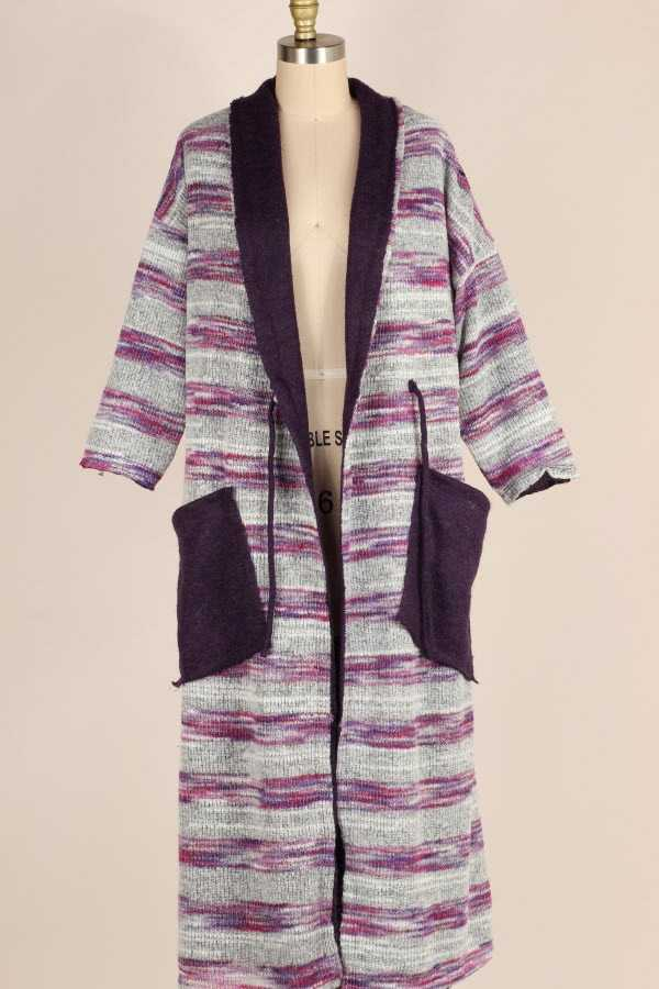 PLUS SIZE REVERSIBLE STRIPED KNIT MAXI CARDIGAN