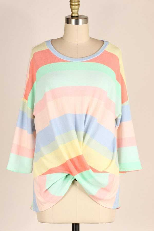PLUS SIZE TWISTED HEM MULTI STRIPED TUNIC TOP