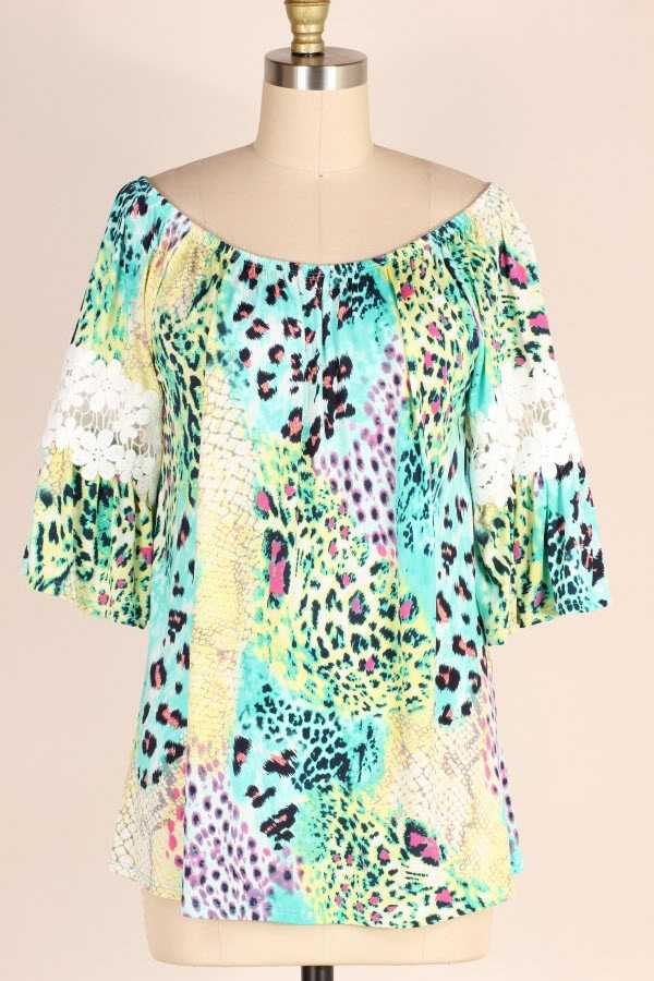 LACE CONTRAST ANIMAL PRINT TUNIC TOP
