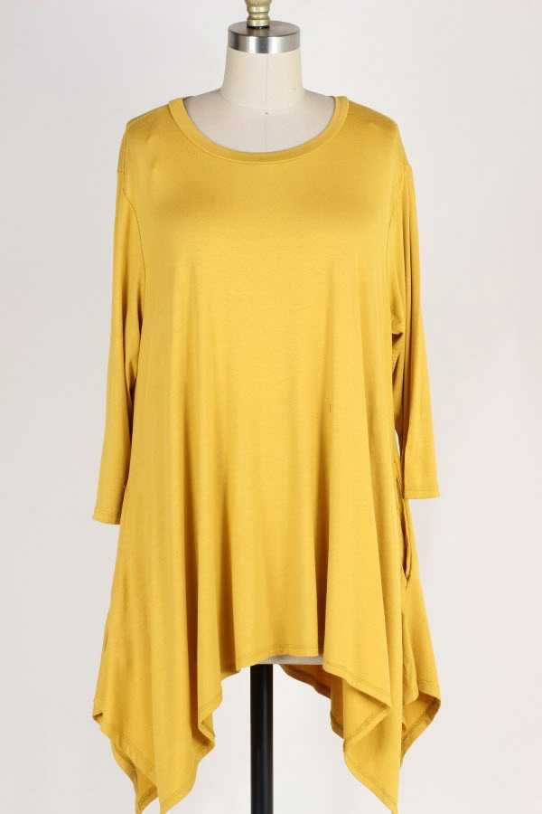 PLUS SIZE SOLID ASYMMETRIC TUNIC TOP WITH POCKETS