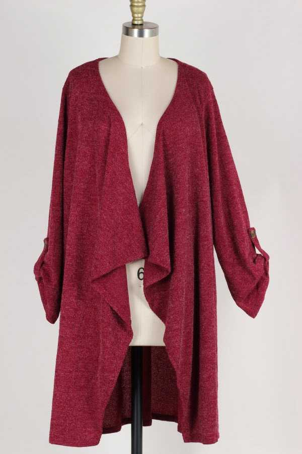 PLUS SIZE ROLL TAB SLEEVE KNIT WATERFALL CARDIGAN