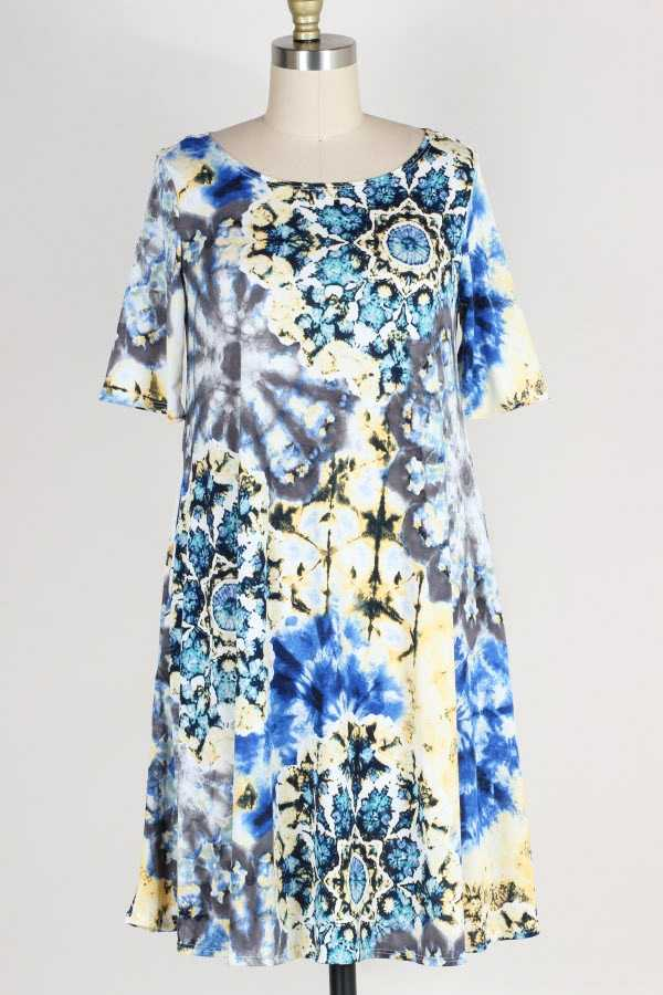 PLUS SIZE SHORT SLEEVE TIE DYE PRINT DRESS WITH POCKETS