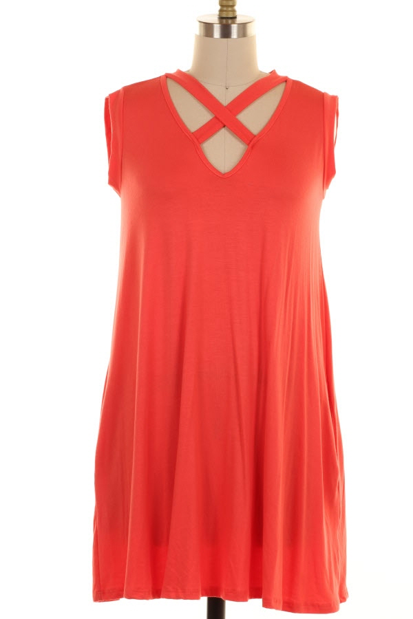 PLUS SIZE CRISS CROSS DETAILED RAYON DRESS WITH P