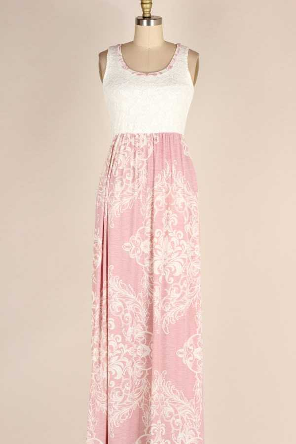 LACE CONTRAST BAROQUE PRINT MAXI DRESS WITH POCKETS