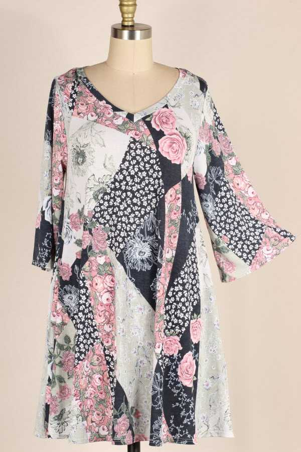 PLUS SIZE MULTI FLORAL PRINT DRESS WITH POCKETS
