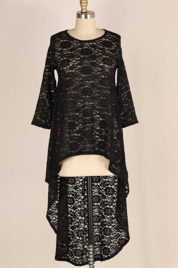 EXTRA PLUS-LACE HI LOW TUNIC TOP