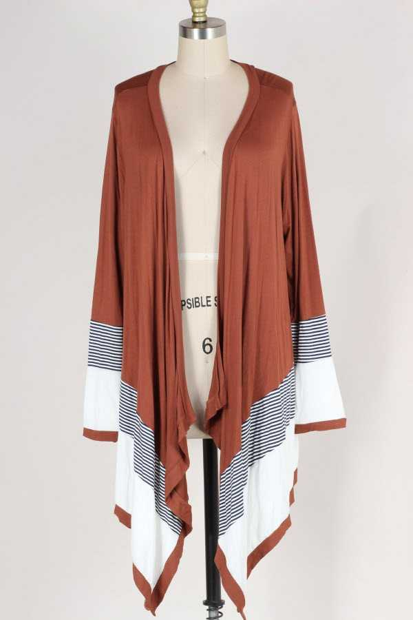 PLUS SIZE STRIPED COLOR BLOCK WATERFALL CARDIGAN