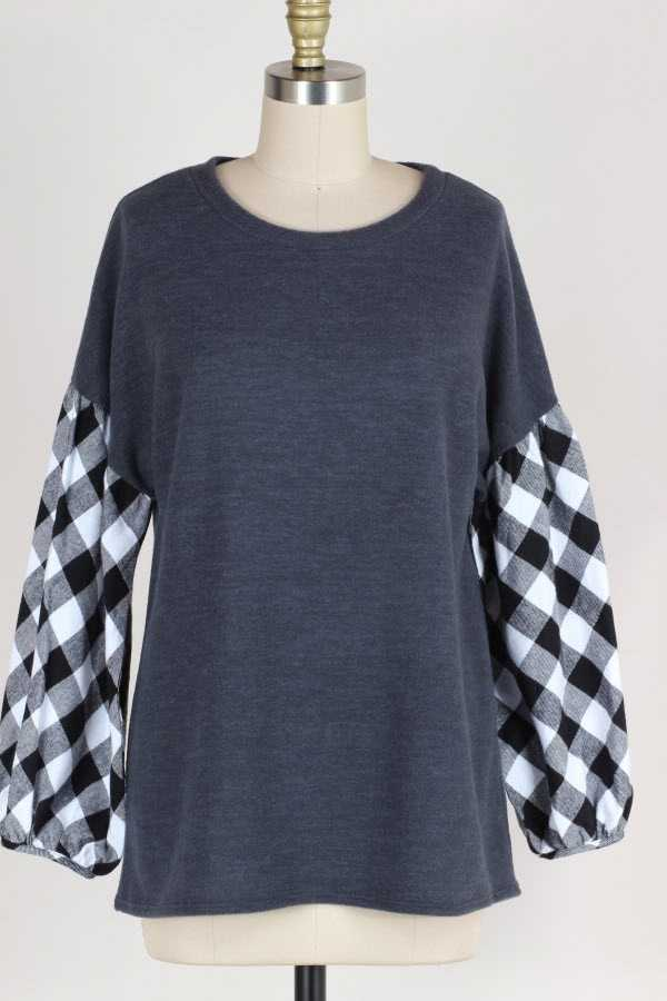 CHECKER PRINT BUBBLE SLEEVE KNIT TOP