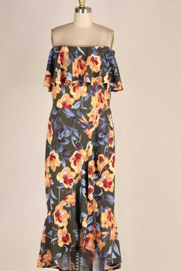 PLUS SIZE OFF SHOULDER FLORAL PRINT RUFFLED MAXI DRESS