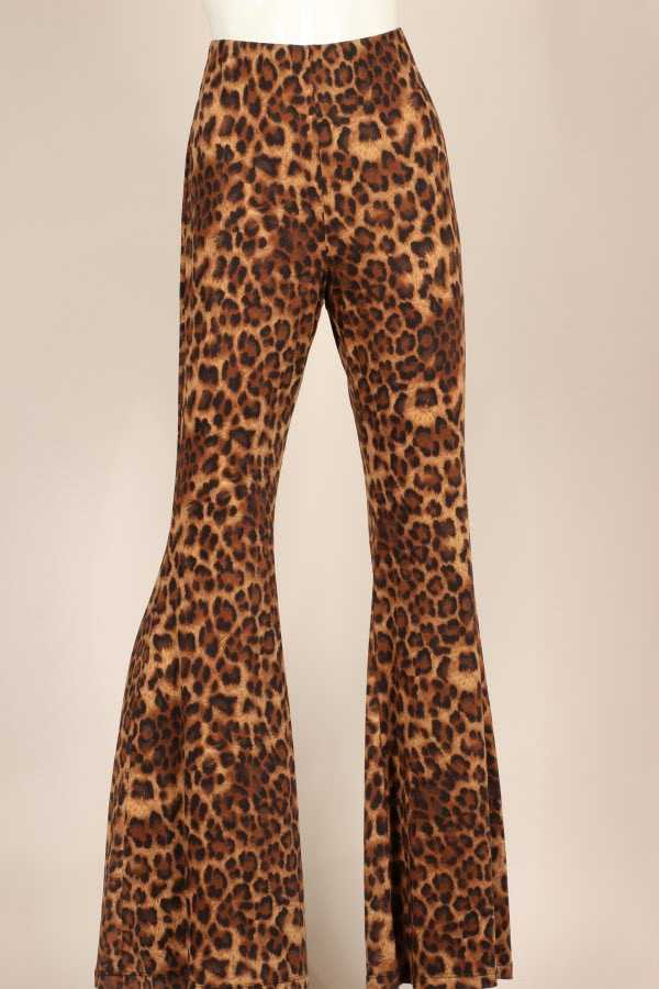 PLUS SIZE LEOPARD PRINT BELL BOTTOM PANTS