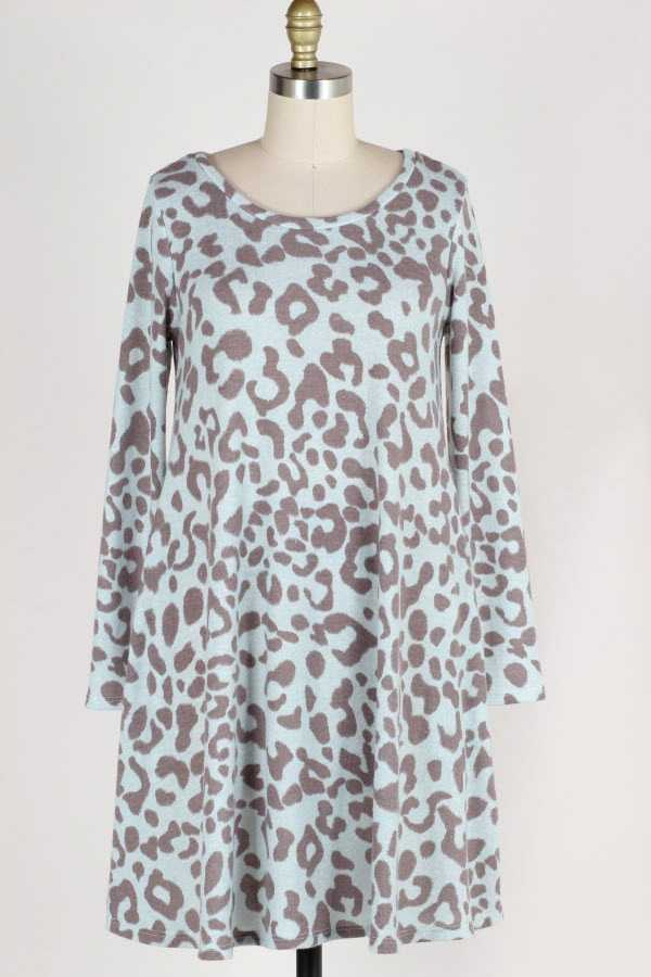 LONG SLEEVE ANIMAL PRINT BRUSHED DRESS WITH POCKETS