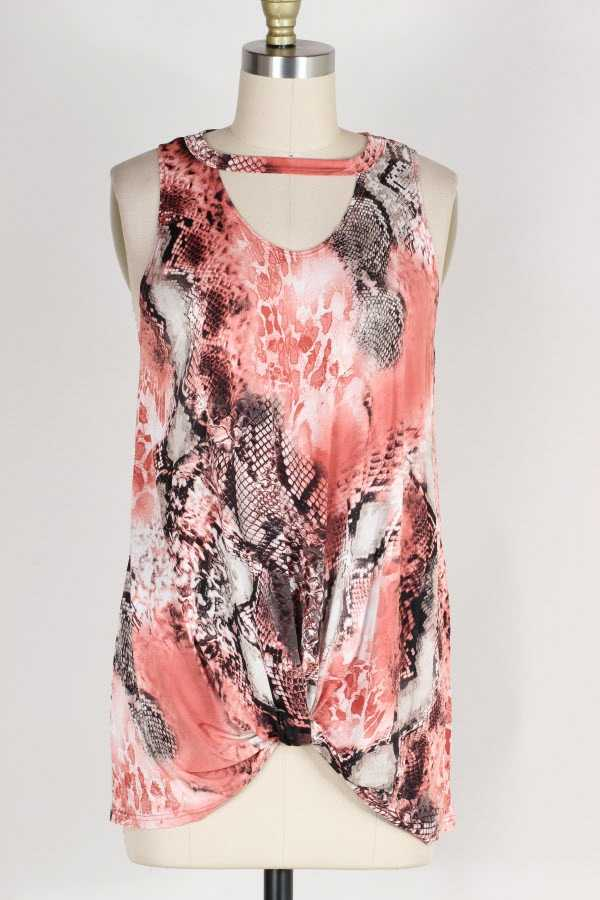 KNOTTED HEM CHEST CUTOUT SNAKESKIN PRINT HALTER TOP
