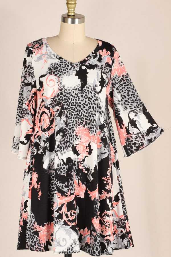 PLUS SIZE WIDE SLEEVE MULTI ANIMAL PRINT DRESS WITH POCKETS