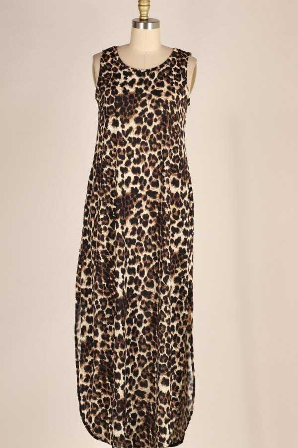 PLUS SIZE LEOPARD PRINT SLEEVELESS MAXI DRESS WITH POCKETS