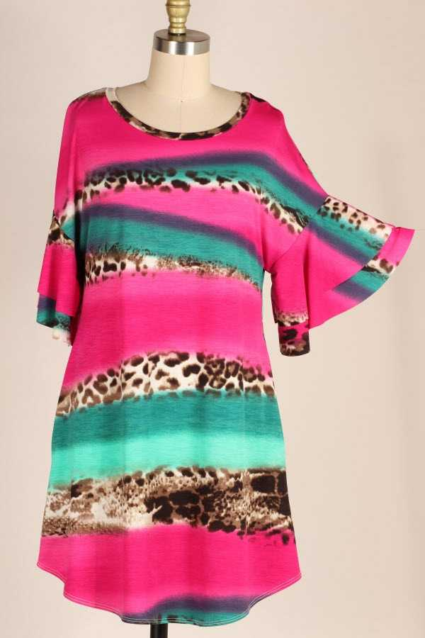 RUFFLE SLEEVE COLOR BLOCK ANIMAL PRINT DRESS WITH POCKETS