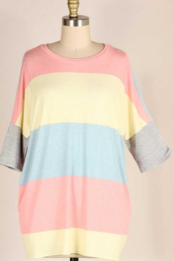 PLUS SIZE COLOR BLOCK LOOSE FIT TUNIC TOP WITH POCKETS