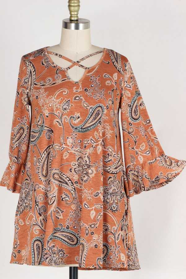 PLUS SIZE CRISS CROSS RUFFLE SLEEVE PAISLEY PRINT TOP W POCKETS