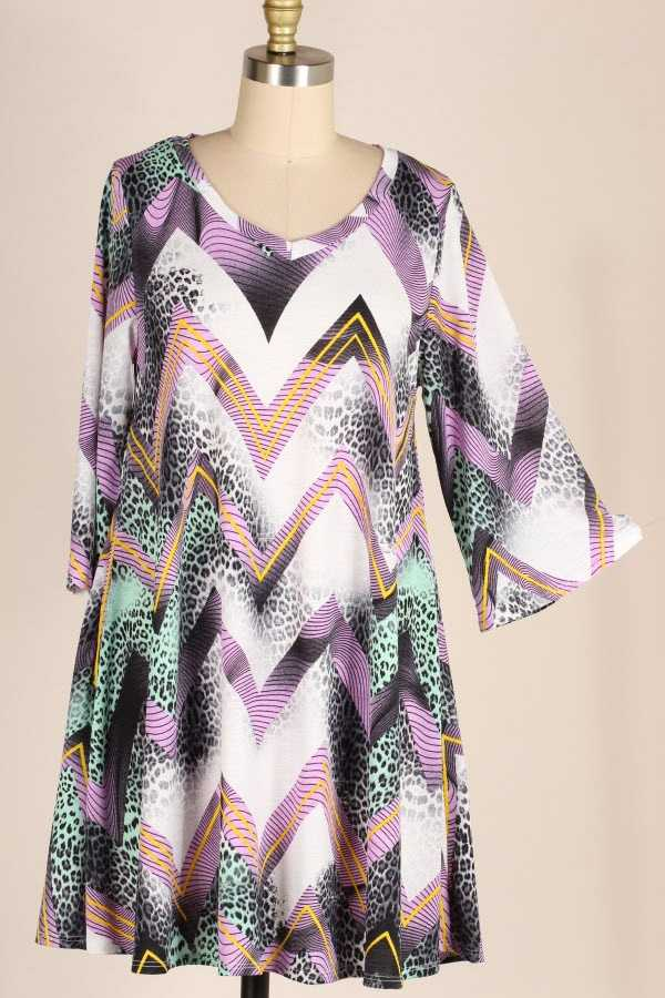 WIDE SLEEVE CHEVRON ANIMAL PRINT DRESS WITH POCKETS