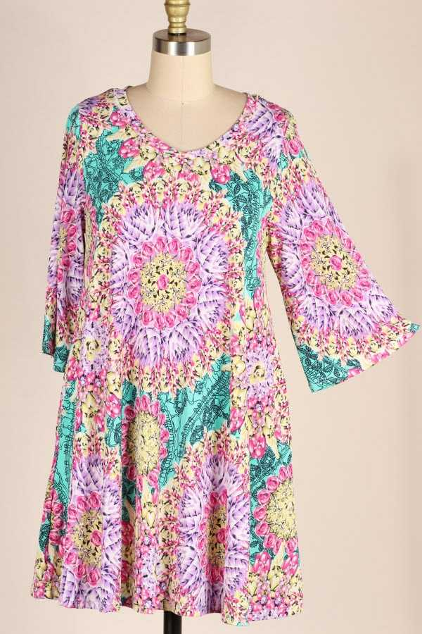 PLUS SIZE WIDE SLEEVE MULTI FLORAL PRINT DRESS WITH POCKETS