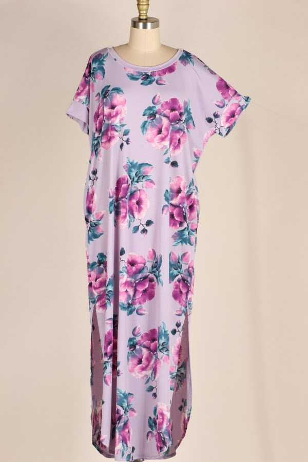 PLUS SIZE SIDE SLIT FLORAL PRINT MAXI DRESS WITH POCKETS