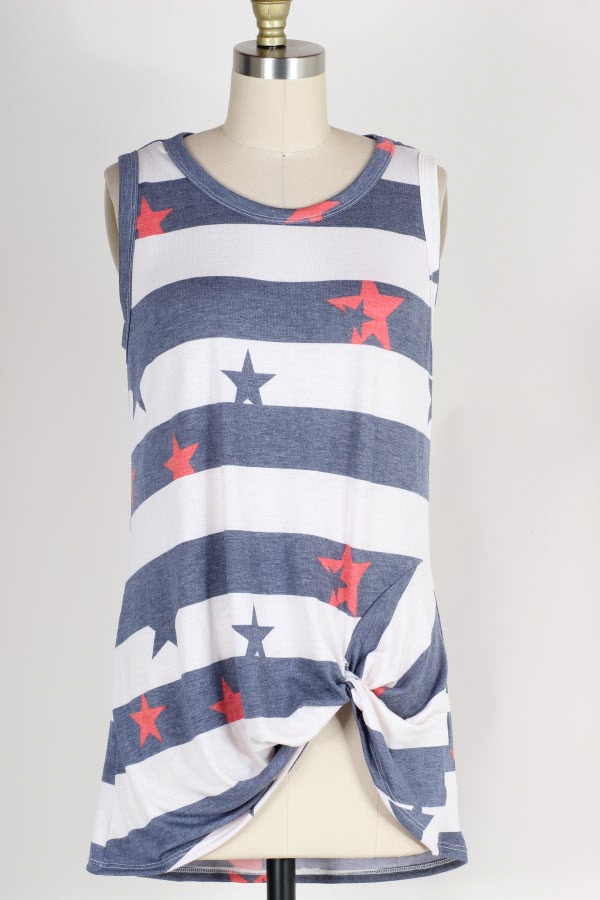 PLUS SIZE KNOTTED HEM STRIPED STAR PRINT SLEEVELESS TUNIC TOP