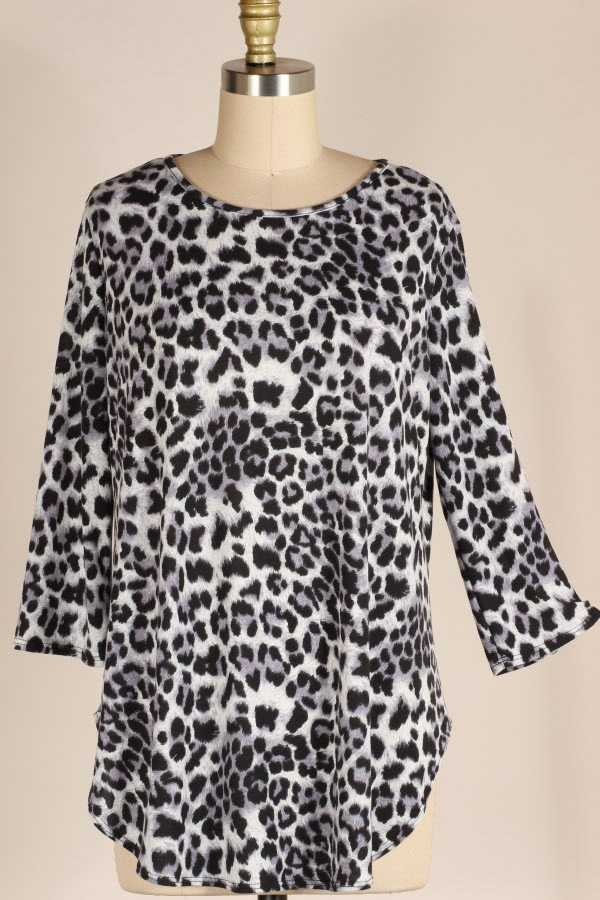 PLUS SIZE 2/3 SLEEVE LEOPARD PRINT TUNIC TOP