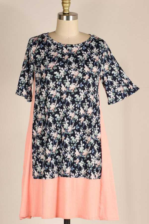 PLUS SIZE SHORT SLEEVE FLORAL PRINT CONTRAST DRESS WITH POCKETS
