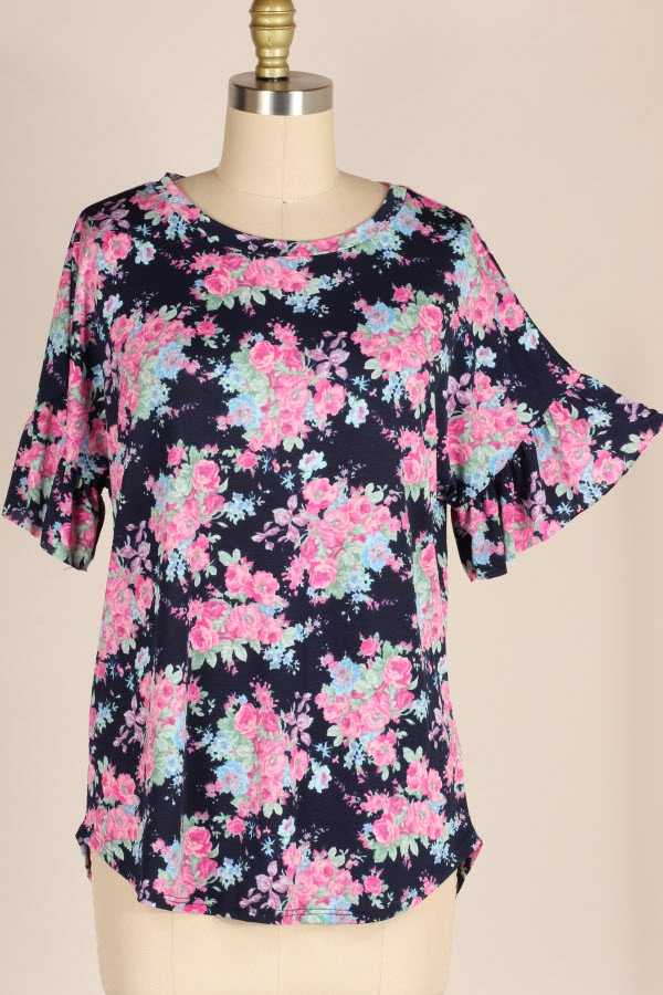 RUFFLE SLEEVE FLORAL PRINT TUNIC TOP