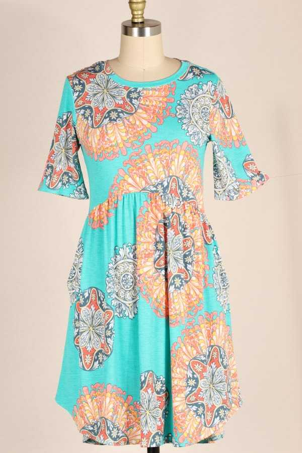 PLUS SIZE RUFFLED MANDALA PRINT DRESS WITH POCKETS
