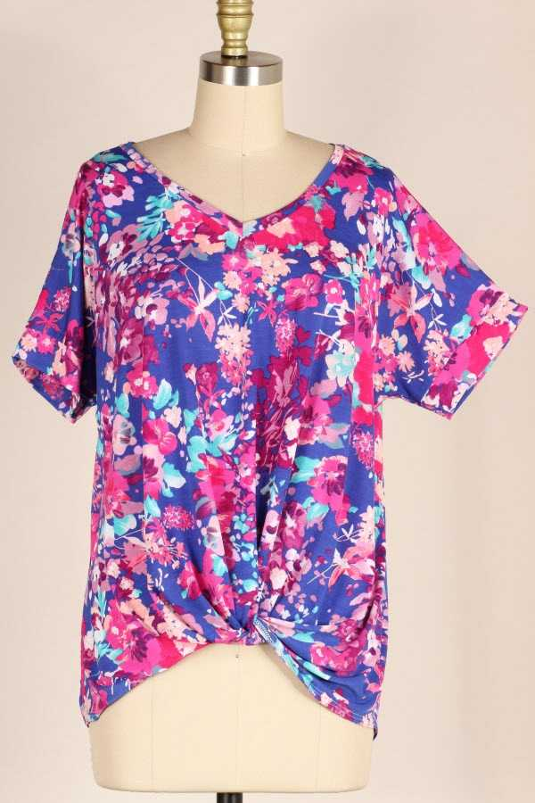 PLUS SIZE KNOTTED HEM FLORAL PRINT TUNIC TOP
