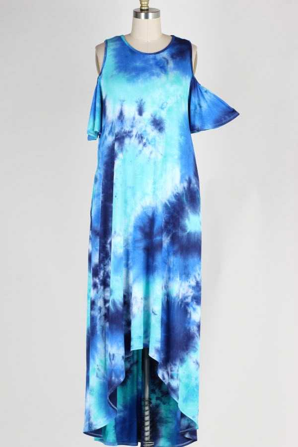 PLUS SIZE COLD SHOULDER TIE DYE PRINT MAXI DRESS WITH POCKETS
