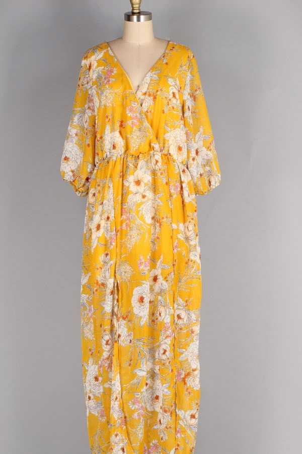 PLUS SIZE SHEER FLORAL PRINT WRAP MAXI DRESS WITH LINING