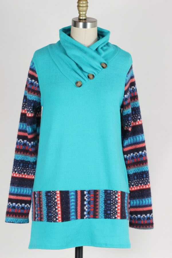 PLUS SIZE BUTTONED COWL NECK TRIBAL BORDER PRINT KNIT TOP