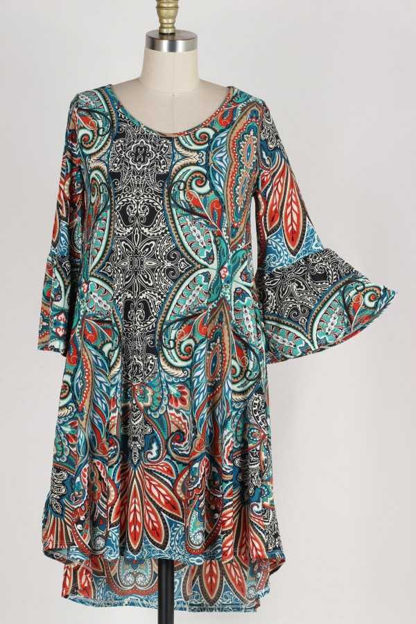 RUFFLE SLEEVE PALMETTE PRINT DRESS WITH POCKETS
