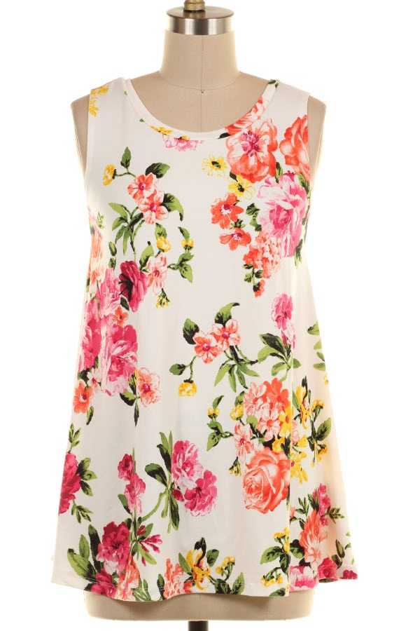 PLUS SIZE CRISS CROSS BACK FLORAL PRINT SLEEVELESS TUNIC TOP