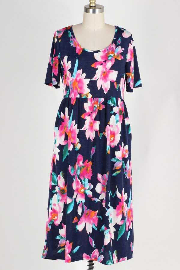 PLUS SIZE SHORT SLEEVE FLORAL PRINT MIDI DRESS WITH POCKETS