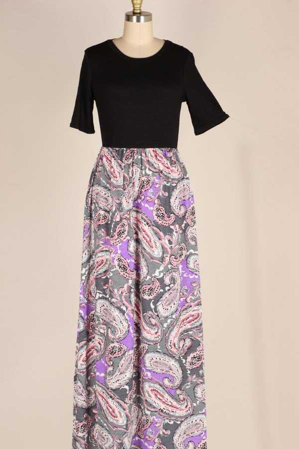PAISLEY PRINT CONTRAST MAXI DRESS WITH POCKETS