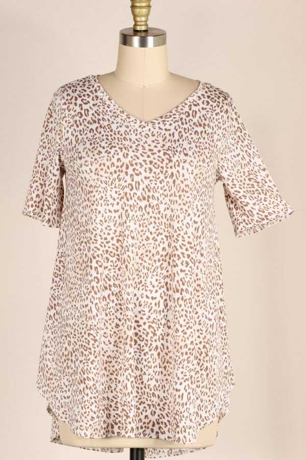 SHORT SLEEVE LEOPARD PRINT TUNIC TOP