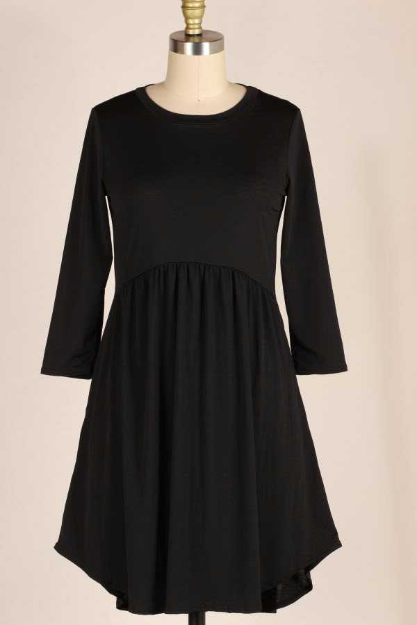 SOLID RUFFLED DRESS WITH POCKETS