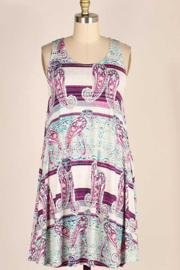PLUS SIZE PAISLEY BORDER PRINT SLEEVELESS DRESS WITH POCKETS